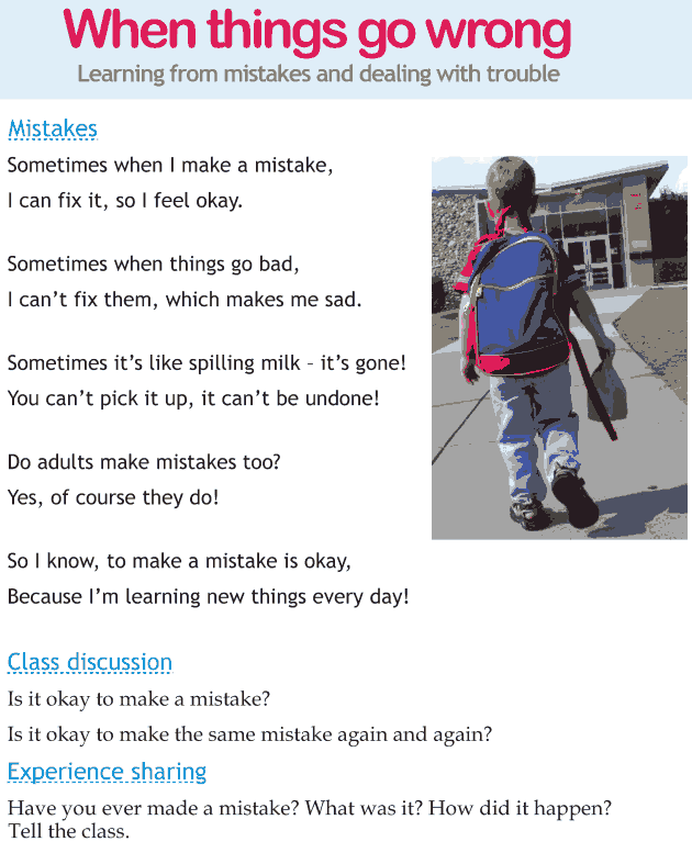 Personality development course grade 1 lesson 12 When things go wrong (1)