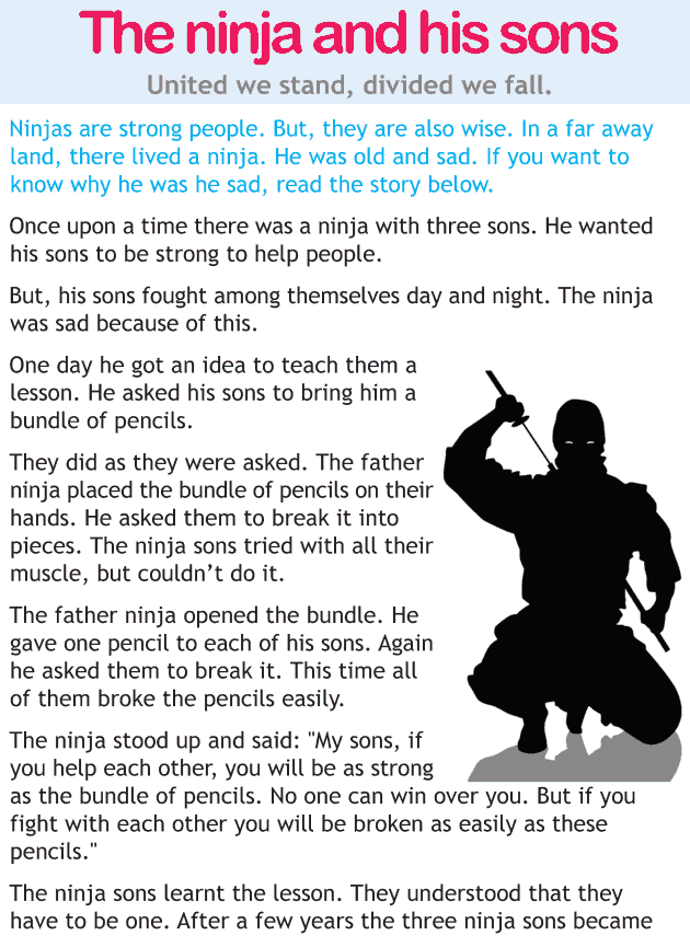 Personality development course grade 1 lesson 13 The ninja and his sons (1)