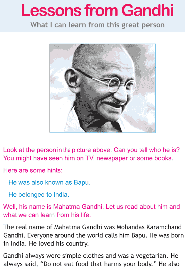 Personality development course grade 1 lesson 19 Lessons from Gandhi (1)