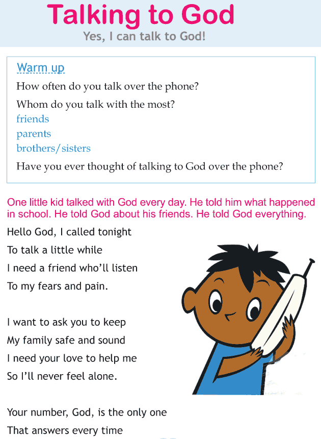 Personality development course grade 1 lesson 6 Talking to God (1)