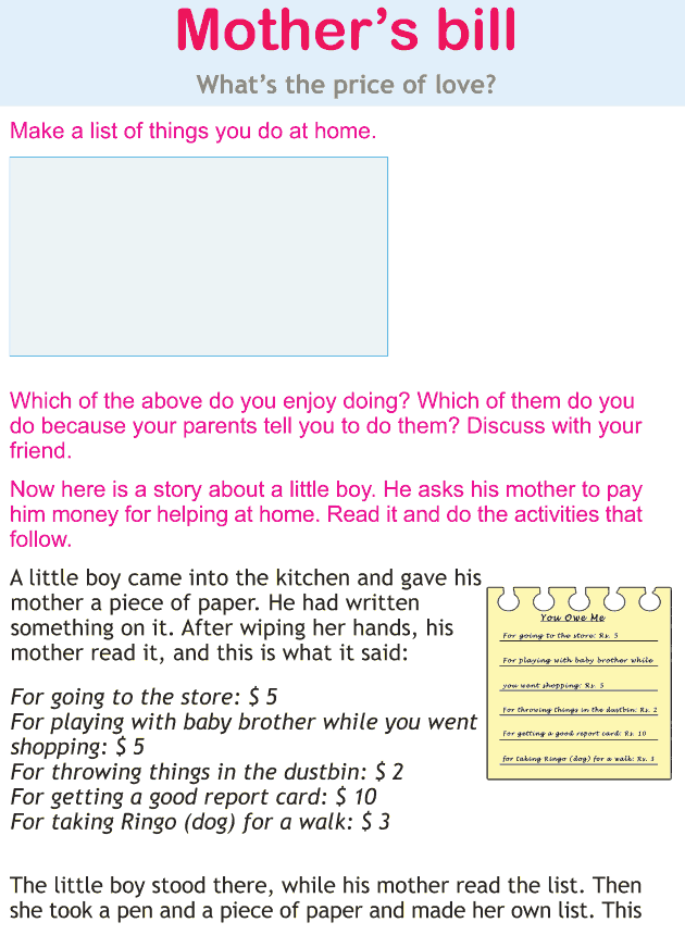 Personality development course grade 1 lesson 7 Mother's bill (1)