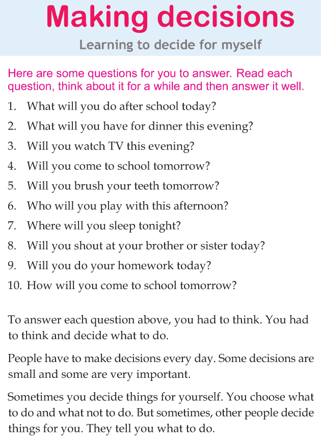 Personality development course grade 2 lesson 4 Making decisions (1)