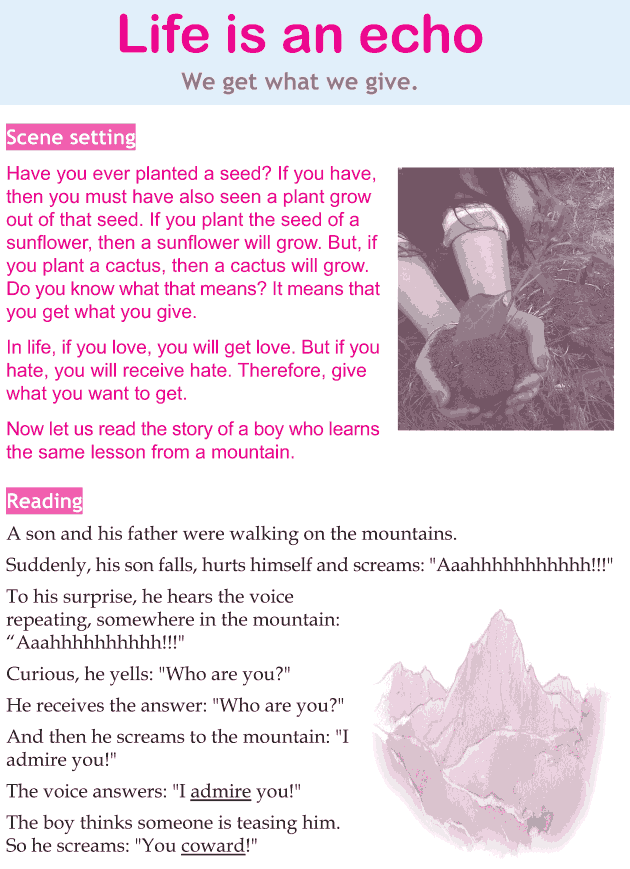 Personality development course grade 3 lesson 13 Life is an echo (1)