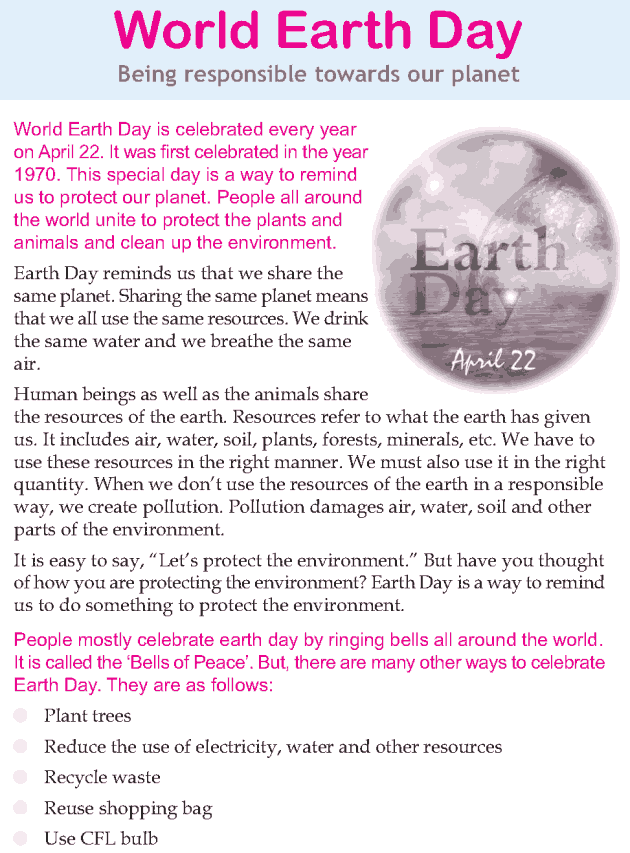 Personality development course grade 3 lesson 20 World Earth Day (1)