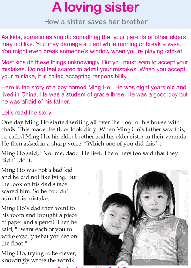 Personality development course grade 3 lesson 7 A loving sister (1)