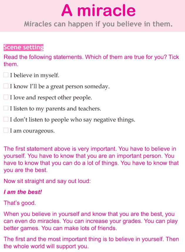 Personality development course grade 4 lesson 1 A miracle (1)