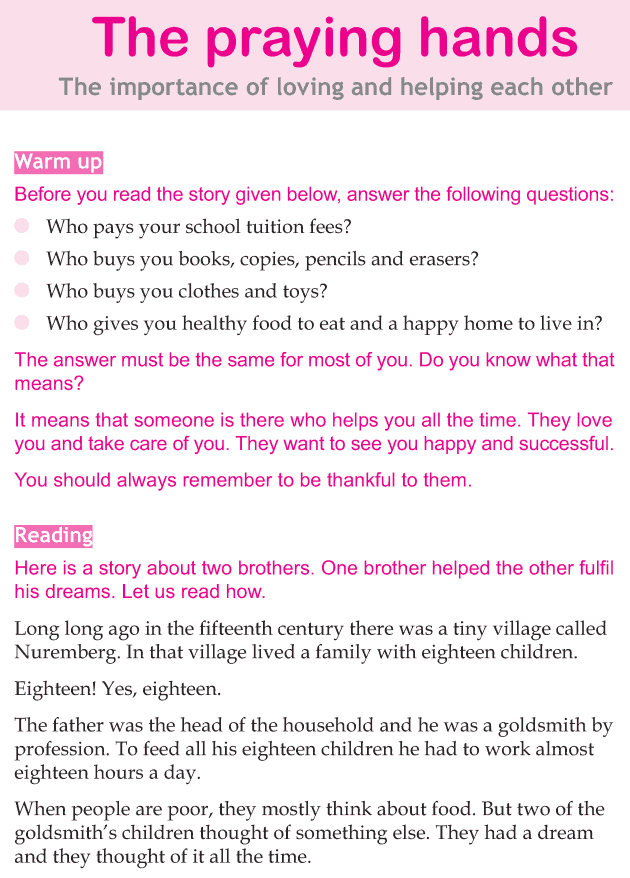 Personality development course grade 4 lesson 3 The praying hands (1)