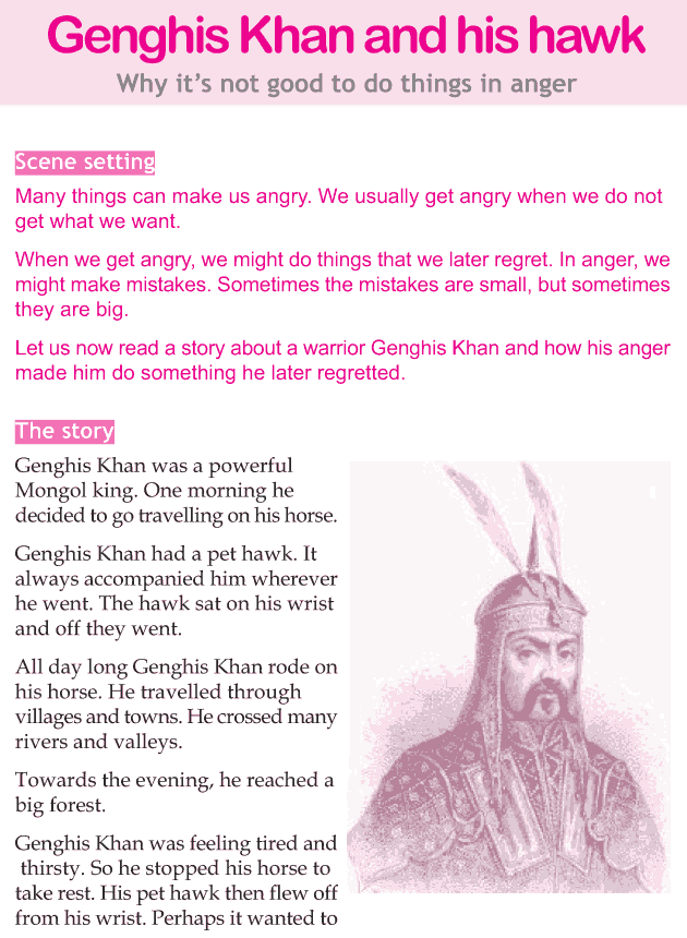 Personality development course grade 4 lesson 5 Genghis Khan and his hawk (1)