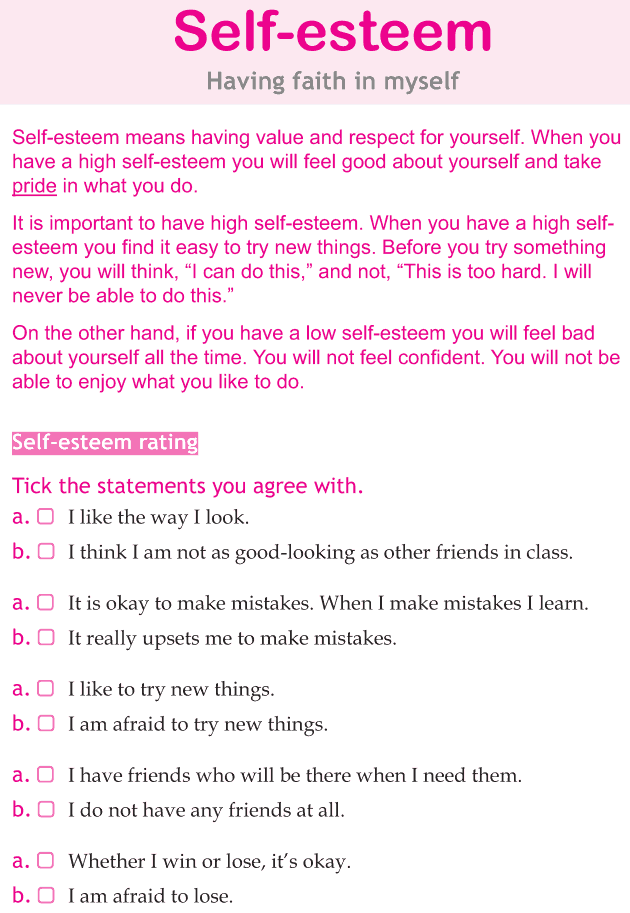 Personality development course grade 5 lesson 5 Self esteem (1)
