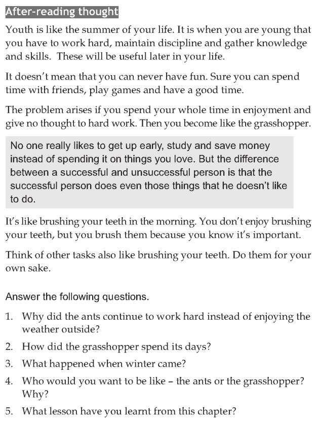 Personality development course grade 6 lesson 11 Ants and the grasshopper (4)