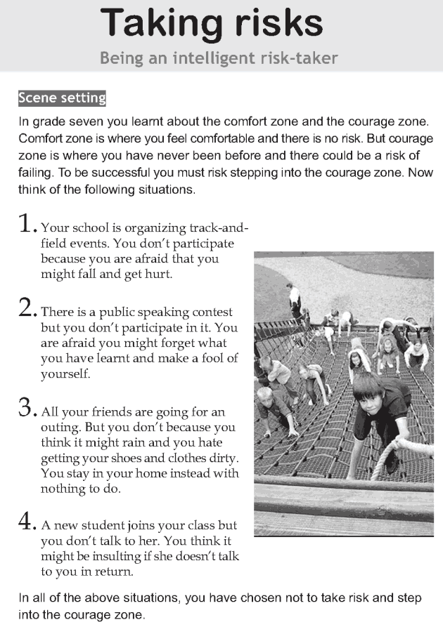 Personality development course grade 8 lesson 10 Taking risks (1)