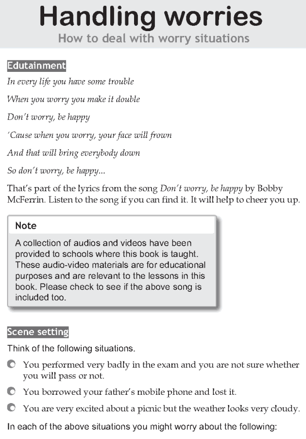 Personality development course grade 8 lesson 4 Handling worries (1)