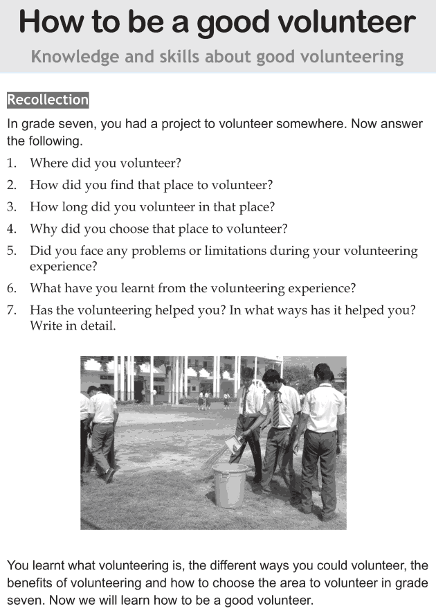 Personality development course grade 8 lesson 6 How to be a good volunteer (1)