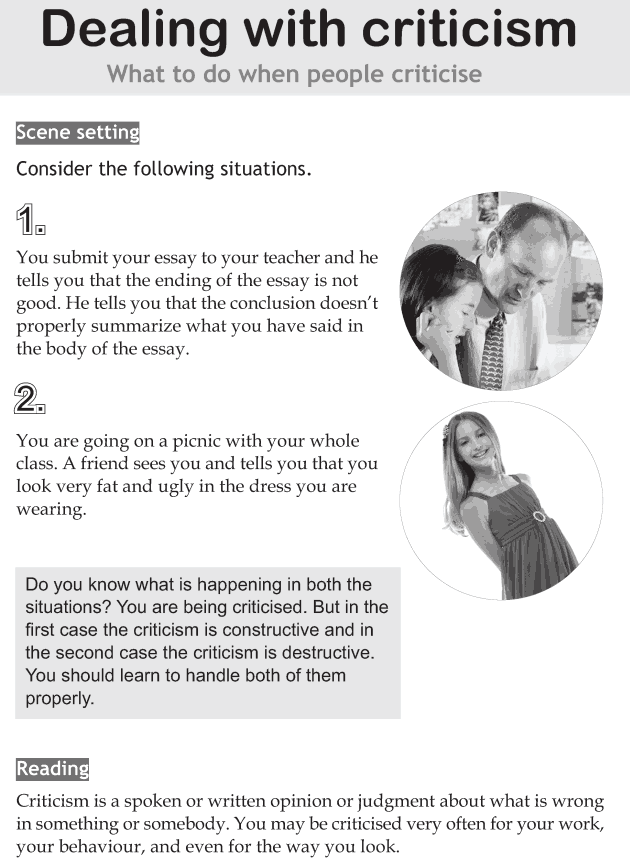 Personality development course grade 8 lesson 9 Dealing with criticism (1)