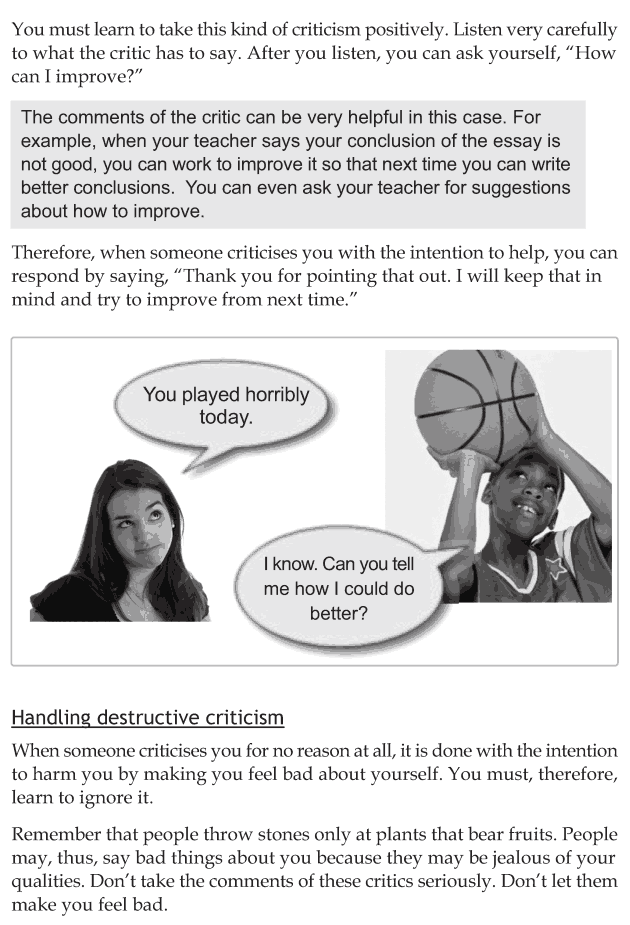 Personality development course grade 8 lesson 9 Dealing with criticism (4)